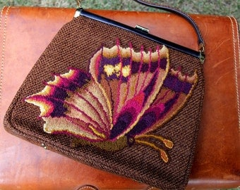 1960s Butterfly Purse Brown Tweed Open Top JR Florida Womens Vintage Large
