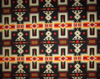Navajo Cross Black Orange Native American Cotton Fabric Fat Quarter or Custom Listing