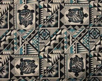 Native American Turtle Teal Black Navajo Totem Cotton Fabric Fat Quarter or Custom Listing