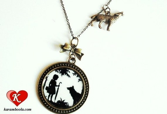 Little Red Riding Hood Silhouette Necklace bronzecolored - fairy tale wolf girl special gift black white sister daughter friend jewelry