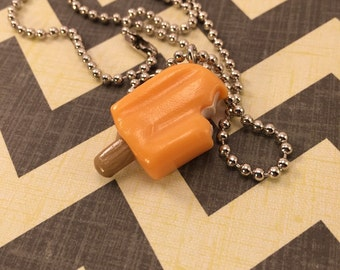 Little Orange Creamsicle Necklace - Polymer Clay - Art by Sarah Price