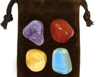 SPIRITUALITY - Meditation Stone Set Crystal Healing Gemstone Kit, Tumbled Gemstone Healing Set, 4 Stones, Pouch, Card
