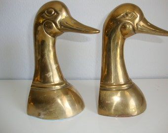 Vintage Brass Duck Book Ends, Classic Duck Head Bookends, Duck Book Ends, Vintage Bookends