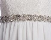 INNESSA crystal sash, rhinestone sash, wedding  beaded belt,  Bridal sash, wedding dress sash, wedding belt, rhinestone beaded sash