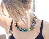 """Multi Strand Beaded Chain Wrapped Necklace w/ Vintage Blue Enamel Chain - """"Buffy"""""""