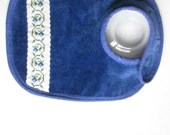 EcoBib--Adjustable Snap Closure--Vintage Rich Blue Bib with Floral CrossStitch Embellishment--Ready to Ship