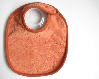 EcoBib--Adjustable Snap Closure--Burnt Sienna with Textured Florals--Ready to Ship