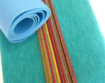 Yoga mat bags - Gorgeous Indian woven cotton, teamed with Mexican stripe fabric - PURE COTTON - All the colours of the RAINBOW