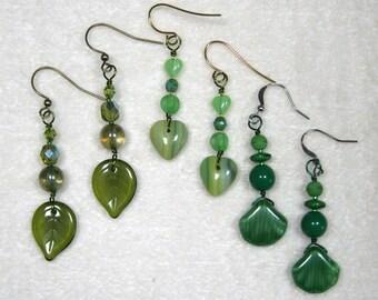 Beaded Earrings heart leaf seashell green