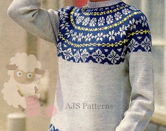 PDF Knitting Pattern for a Ladies Norwegian or  Fair Isle Sweater - Instant Download