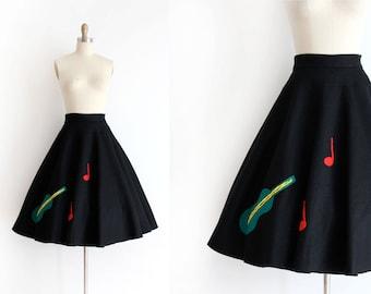 vintage 1950s felt skirt // 50s novelty musical circle skirt