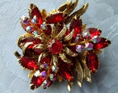 Ruby Red Vintage Rhinestone Flower Brooch Pin Goldtone Setting Navettes Round Aurora Borealis