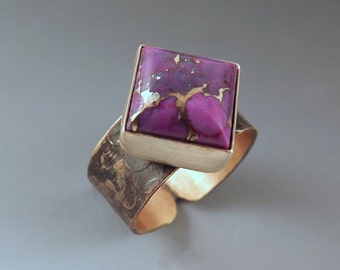 Purple Turquoise- Diamond Shape- Purple Jewelry- Unique Gemstone- Smokey Bronze Patina- Metal Art Bronze Ring