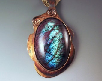 Purple Labradorite- Rainbow Patina- Abstract Design- Metal Art Pendant- One of a Kind- Labradorite Necklace