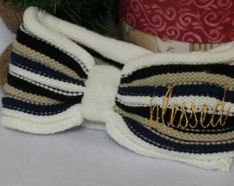 Christmas  Gift For Her, Custom Embroidered Knit Stripes Ear Warmer, Gift For Her, Stocking Stuffer