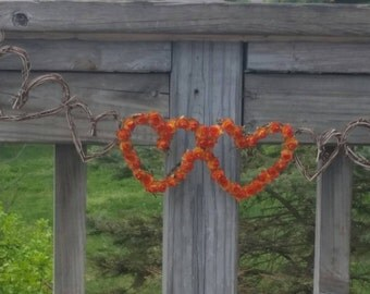 Fall Bridal Shower Decor, Vine Garland & Orange Paper Roses