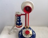 Vintage Candlestick Style Phone.  Made in USA.  Display Only!  Stars & Stripes.  Telephone. Mid century,  Eames era. 1970s.