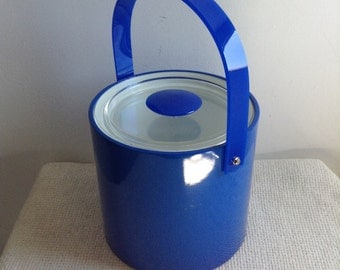 Vintage 1970 Georges Briard Ice Chest or Bucket. Blue Plastic and Lucite. Eames Panton era. Mid century Modern.s