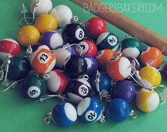 Miniature BILLIARD Ball Earrings - one pair, 16 patterns to choose from