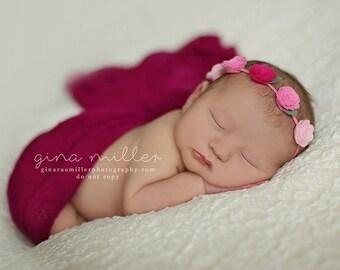 Shades of Pink-  Rosebud Garland Headband - Wool Felt Flower Headband- Shabby Chic Wedding Flower Girl Headband