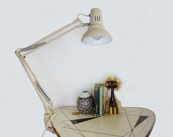 Vintage Beige Ledu Architect Desk Lamp Made in Sweden