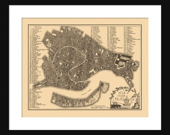 Vintage Map of  Venice Italy Sepia Print Poster