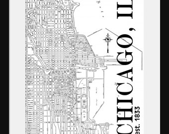 Chicago Street Map Vintage Print Poster Titled