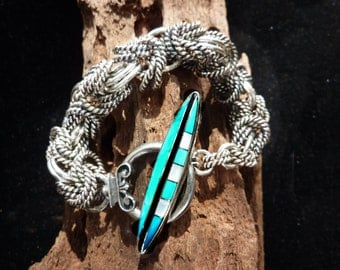 Sterling Silver Double Byzantine Bracelet with Inlaid Turquoise Toggle