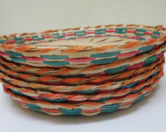 6 Bamboo Plates, Coloful Bamboo Plates, Round Bamboo Trays, Colorful Bamboo Craft