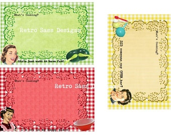 New  RETRO sassy Recipe cards and dividers picnic gingham backgrounds-pyrex-melmac quirky-sarcastic humor digital delivery
