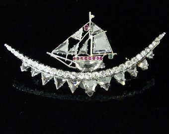 Art Deco Diamonds Rubies Emerald Platinum Ship Sailing Vessel Brooch Certified and Appraised Now on SALE down from 5,999.00
