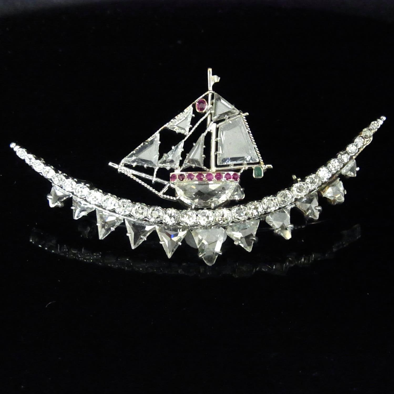 Art Deco Ship: Art Deco Diamonds Rubies Emerald Platinum Ship Sailing Vessel
