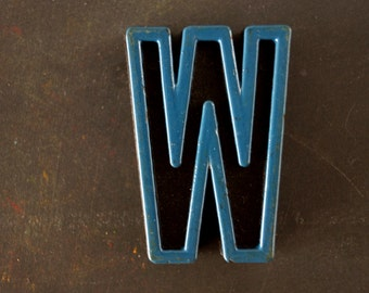 "Vintage Industrial Letter ""W"" Black with Blue and Orange Paint, 2"" tall (c.1940s) - Monogram Display, Shadow Box Letter, Art"