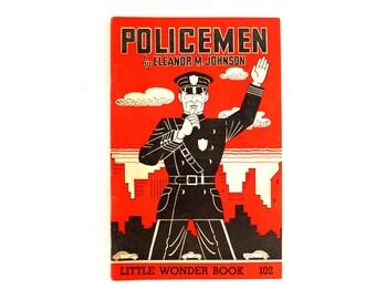 """Vintage """"Policemen"""" Little Wonder Book No. 102 (c.1950) - Collectible Children's Book, Ephemera, Altered Art"""