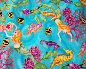 Mermaid Fabric Very Colorful Lots of Metallic Outlines & Throughout Rare HTF Fat Quarter New BTFQ