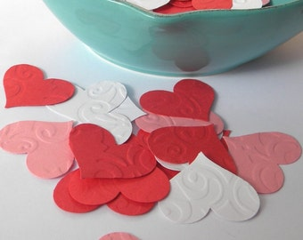 Embossed paper hearts -  25+  paper hearts -  paper heart confetti - Valentines decor - wedding decor - embellishments - heart confetti