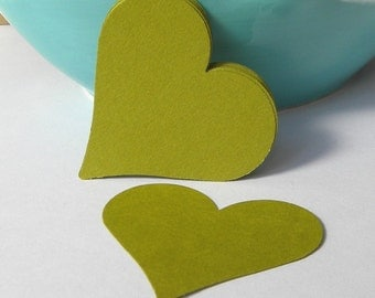 12 green paper hearts - paper heart embellishments - gift tags -  heart punches - scrapbooking  - cupcake toppers  -  card making