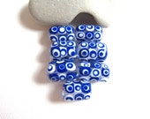 Spot the Dots, Blue and White Dotted Bead Set ,Glass Lampwork Beads ,SRA
