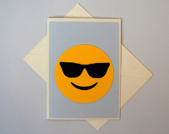 card handmade card birthday happy face emoticon card anniversary card ...: https://www.etsy.com/listing/229691438/cool-guy-emoji-greeting-card...