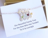 Sterling Silver Family Tree Bracelet with Sentiment Card...  Personalized Initials and Birthstones