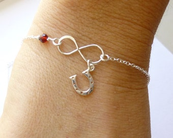 Sterling Silver Infinity Horseshoe Bracelet... You Choose the Stone... Good Luck.... Equestrian