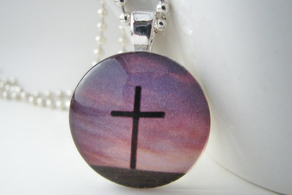 Twilight at Calvary Glass Tile Pendant with Free Necklace