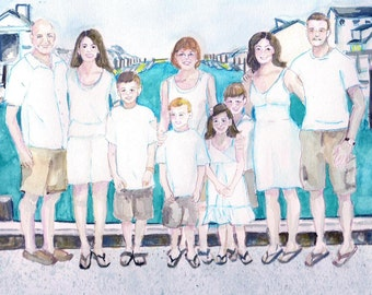 Custom family portrait, watercolor, pen and ink, family