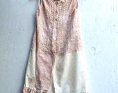 Girls sz 10 fairy ecru latte soft hand dyed beige tan natural eco boho gypsy romantic shabby flower girl dress