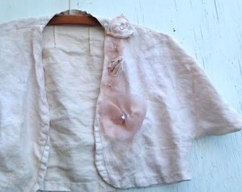 handmade shabby hand dyed ecru bride vintage fabric bolero pure linen shrug wedding bridesmaid bride forest roses