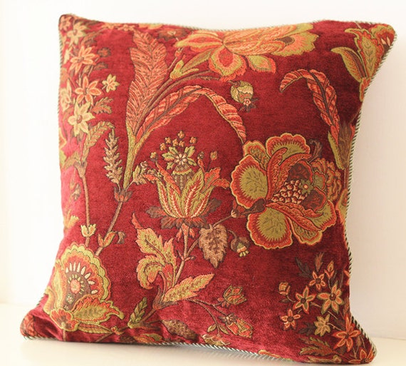 wine red Decorative yellow Floral Pillow Cover Pillow Throw