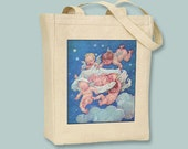 Lovely Vintage Baby and Cherubs Illustration on Natural or Black Tote -- Selection of sizes available