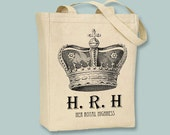 HRH Her Royal Highness Vintage Crown Canvas Tote  - selection of sizes available