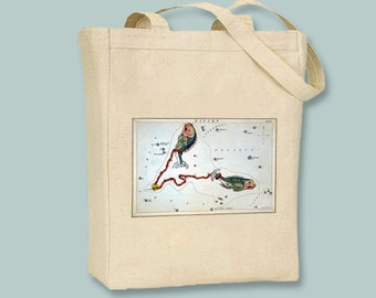 Pisces Astrological Sign Vintage Star Chart Illustration on Natural or Black Tote -- Selection of sizes available