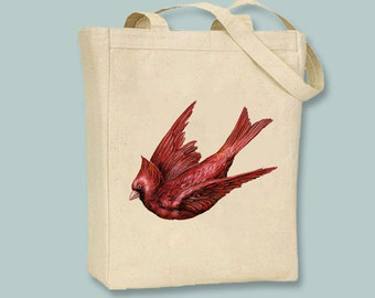 Glorious Vintage Cardinal Illustration Natural or Black Canvas Tote - selection of sizes available
